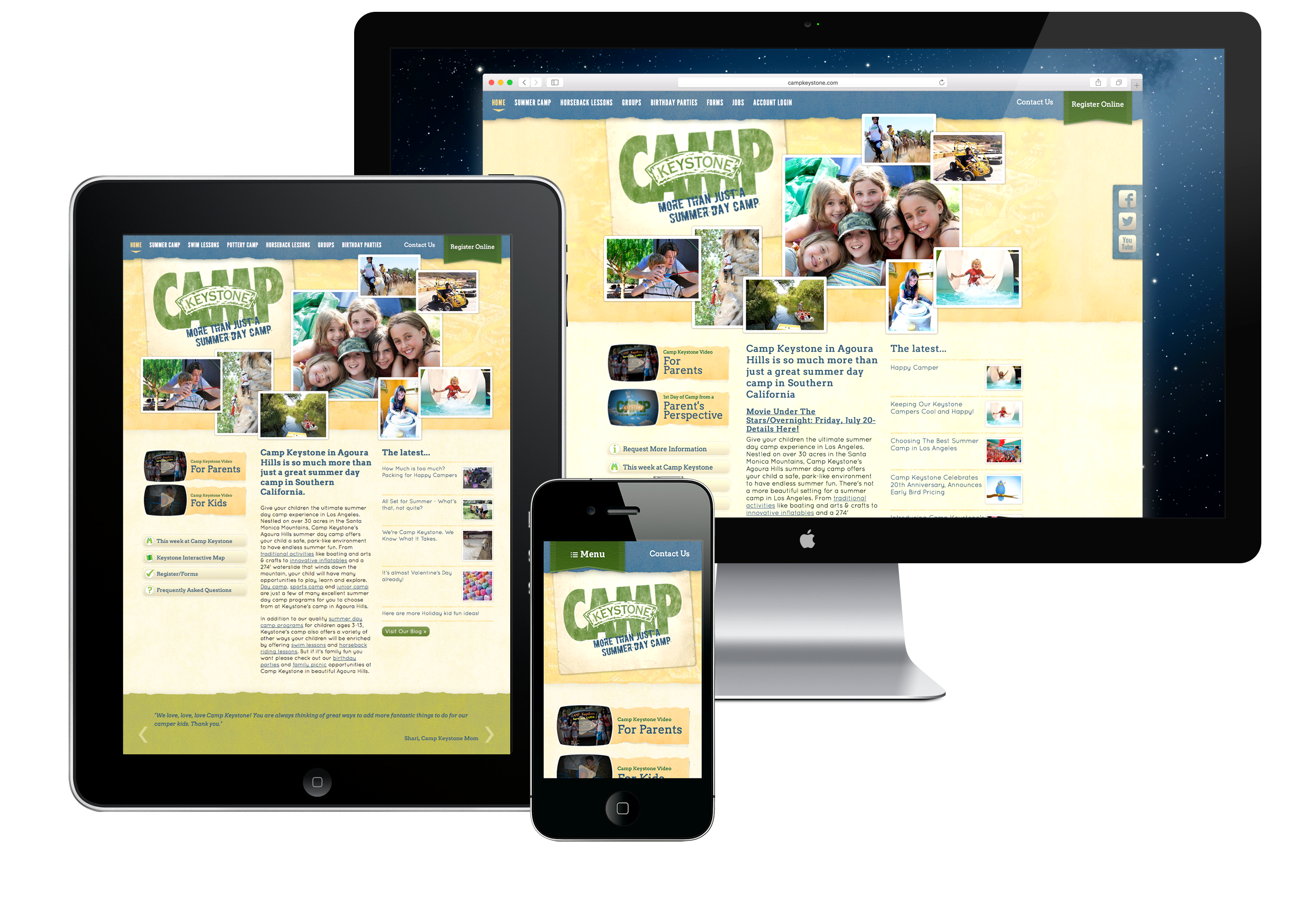 Camp Keystone Southern California, website design