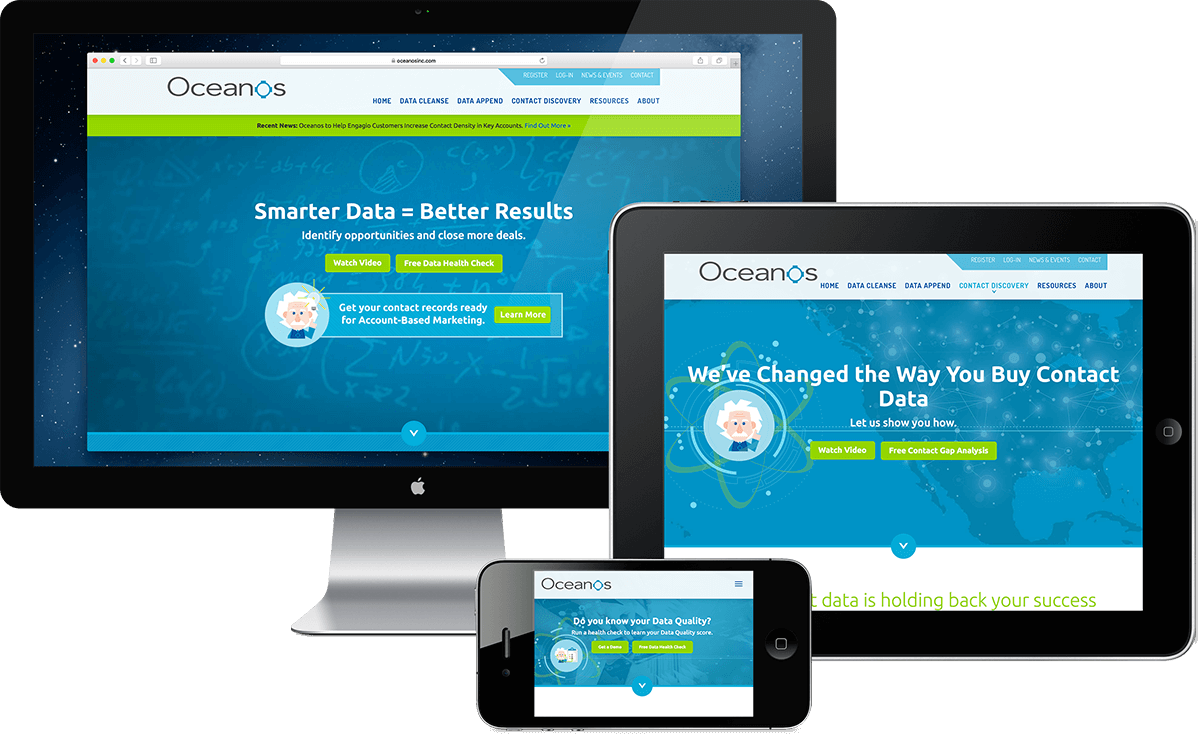 Oceanos website design, Massachusetts