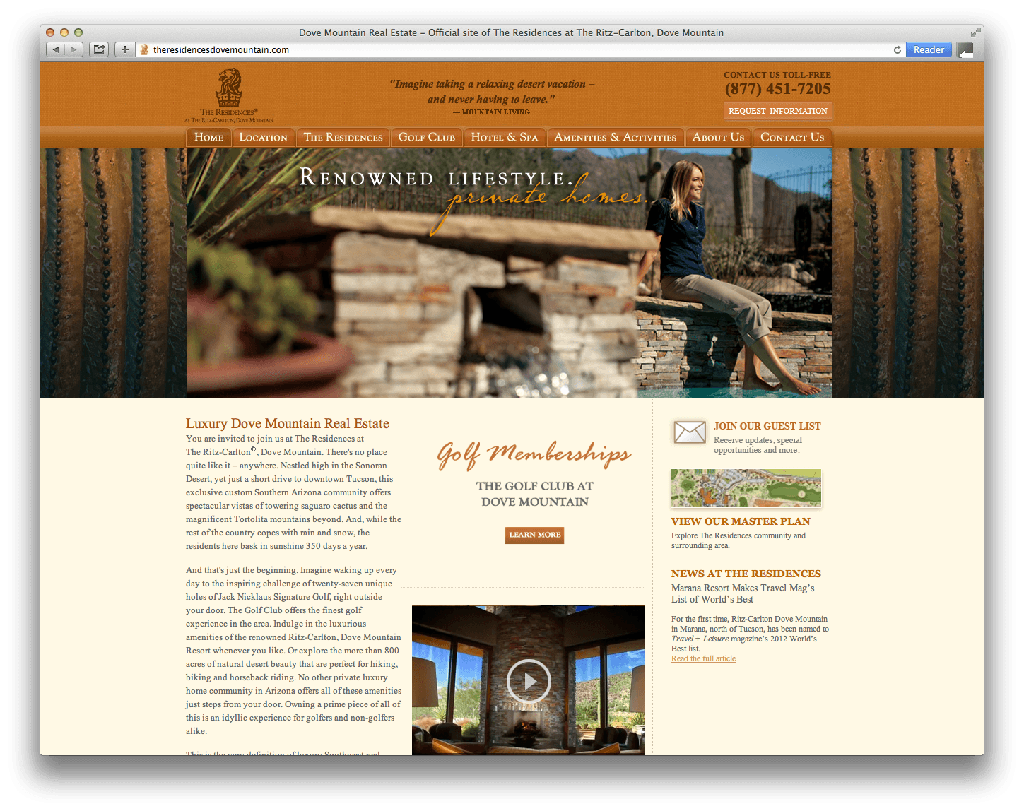 The Ritz-Carlton, Dove Mountain Website Design