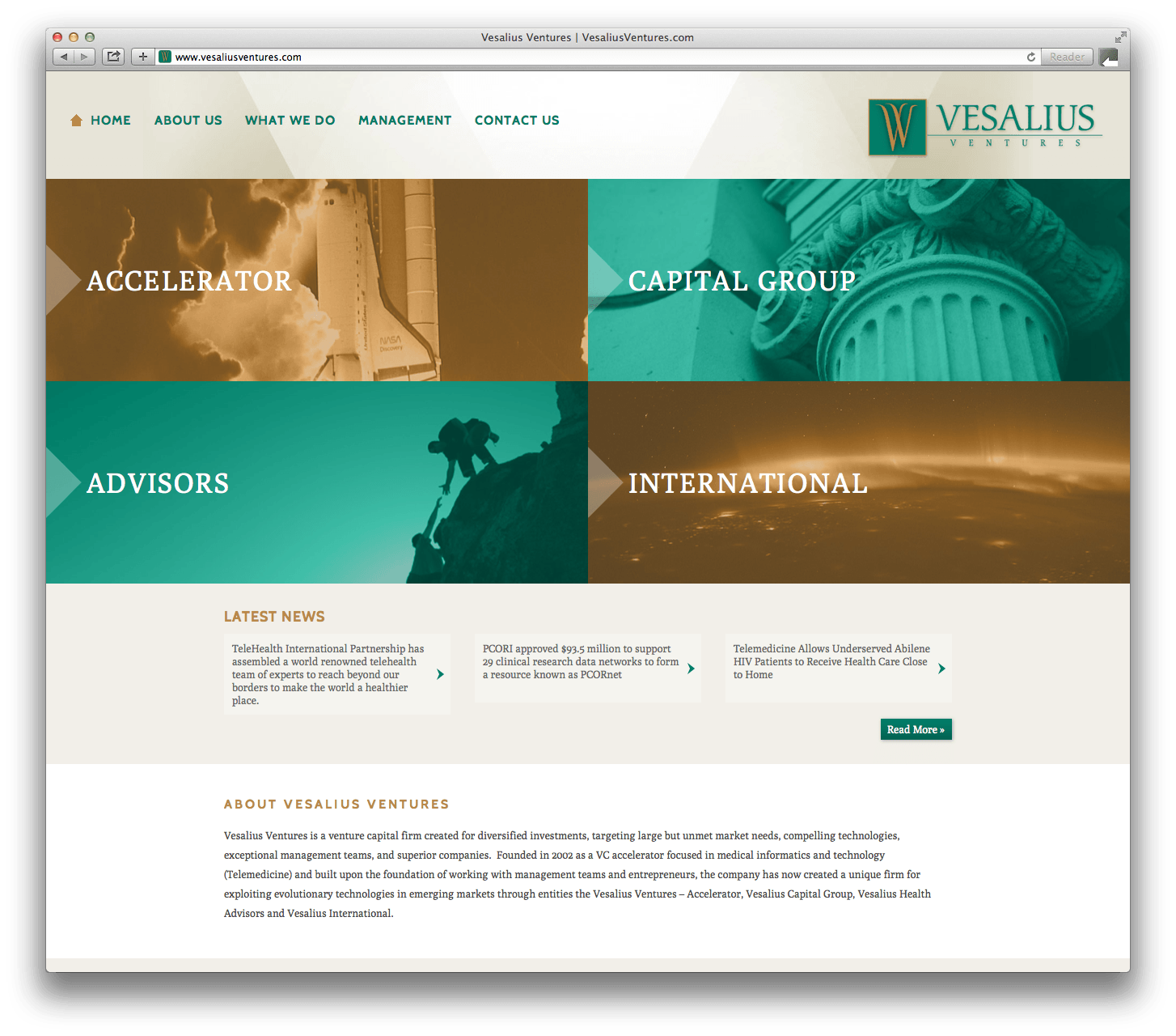 Vesalius Ventures Website Design