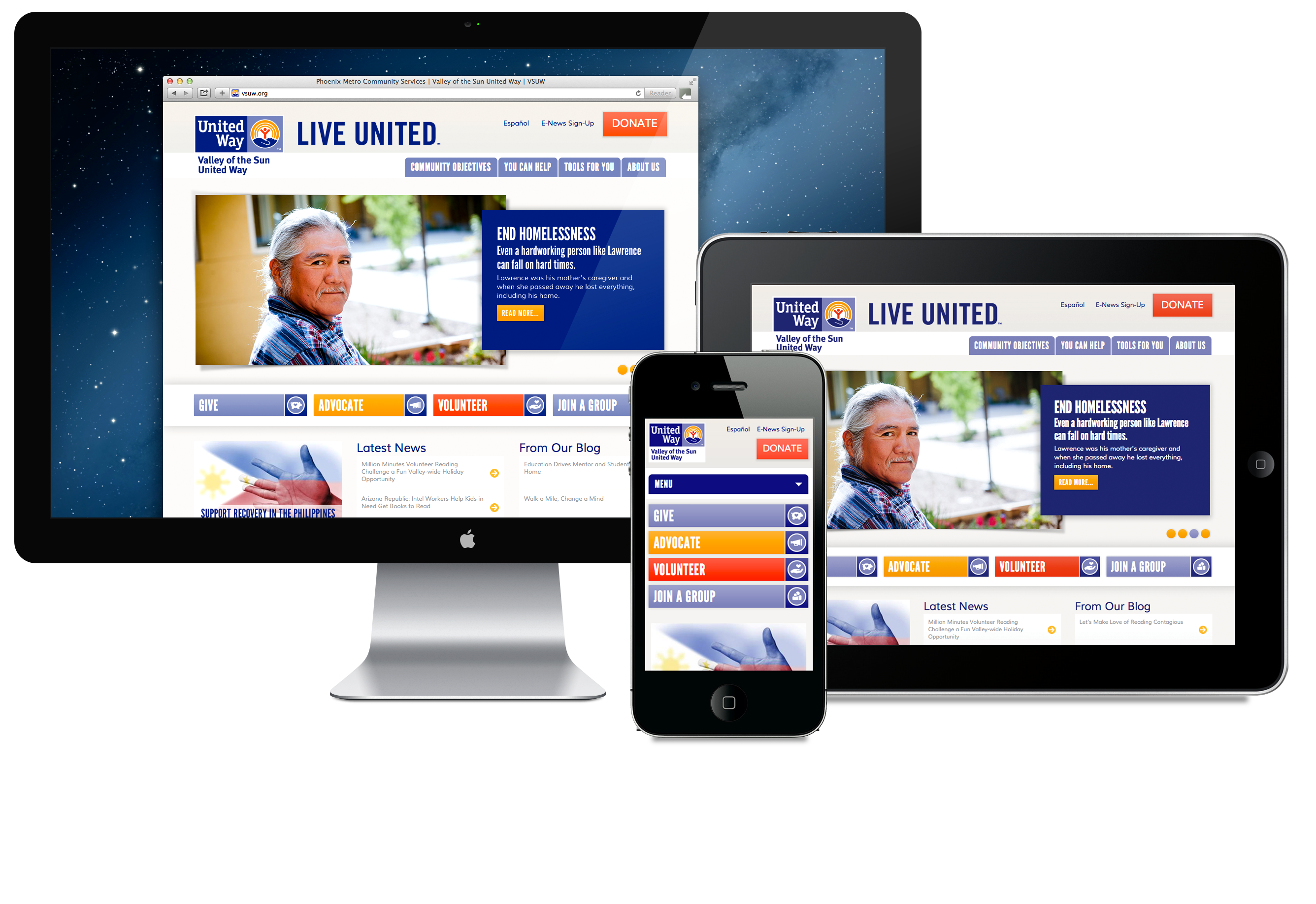 Phoenix Arizona United Way website design